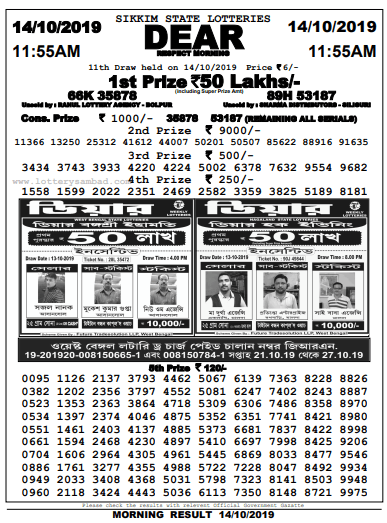 Lottery Sambad Morning 11AM Result 14.10.2019