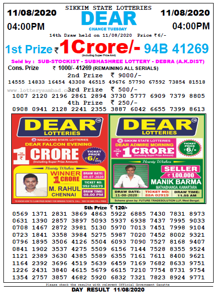 11 August 2020 Sambad Lottery Evening Result 4pm