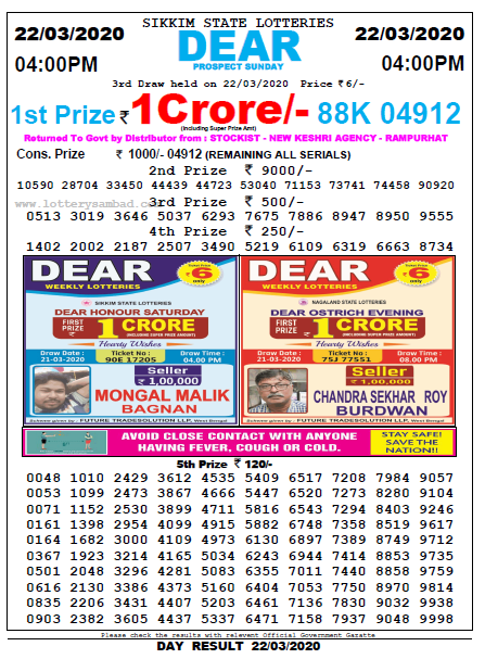 Lottery Sambad4 PM Result 22 March 2020